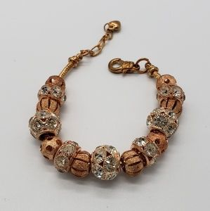 Jewelry - Copper Color Slide Charms Beads Beaded Bracelet